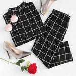 Load image into Gallery viewer, Grid Top and pencil Skirt Co-ord set in black