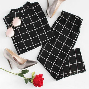 Grid Top and pencil Skirt Co-ord set in black