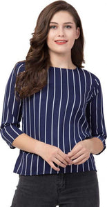 White Striped Round Neck top in blue