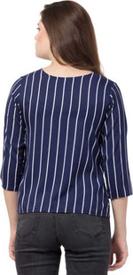 Load image into Gallery viewer, White Striped Round Neck top in blue