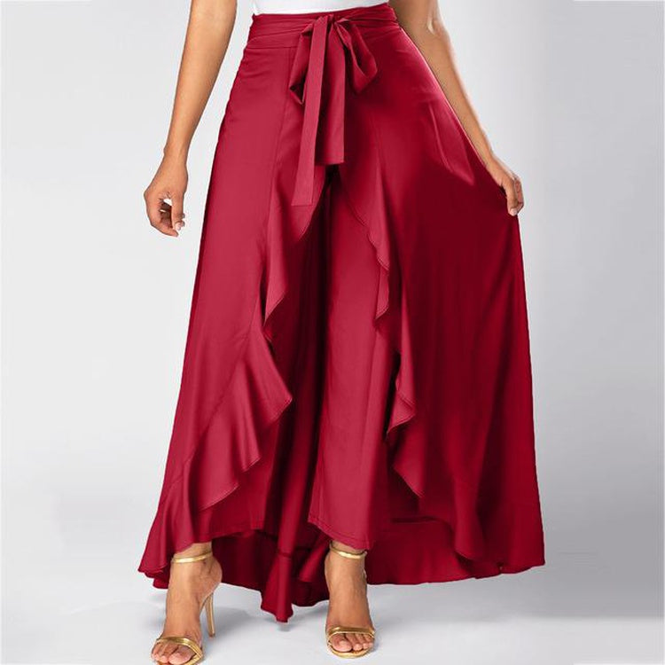 Ruffle hem skirt with palazzo pants