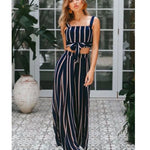 Load image into Gallery viewer, Striped padded Crop Top and pantaloons coordinated set