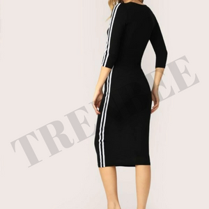 Black Bodycon Dress with white stripes