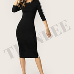 Load image into Gallery viewer, Black Bodycon Dress with white stripes