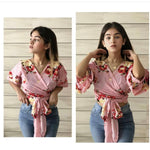 Load image into Gallery viewer, Plumeria knot hem blouse