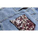 Load image into Gallery viewer, Sequined Denim Jacket
