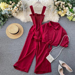 Load image into Gallery viewer, Seaside wide legged Pleated Jumpsuit with lace up blouse