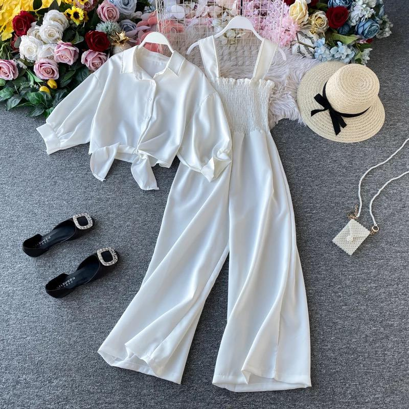 Seaside wide legged Pleated Jumpsuit with lace up blouse
