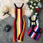 Load image into Gallery viewer, Sleeveless Vertical Striped Vintage Knit Dress