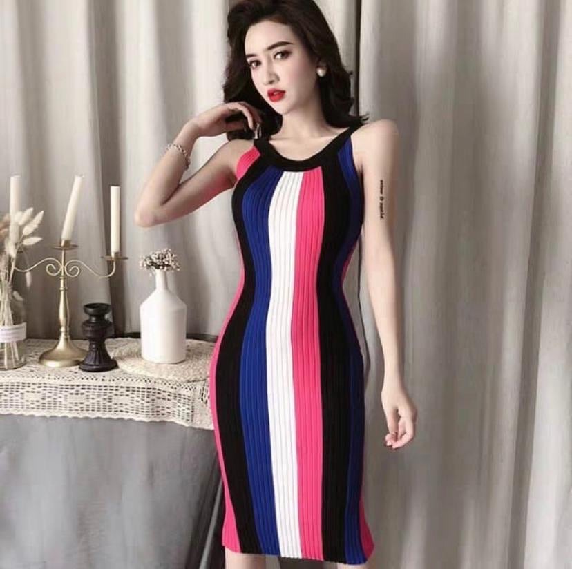 Sleeveless Vertical Striped Vintage Knit Dress