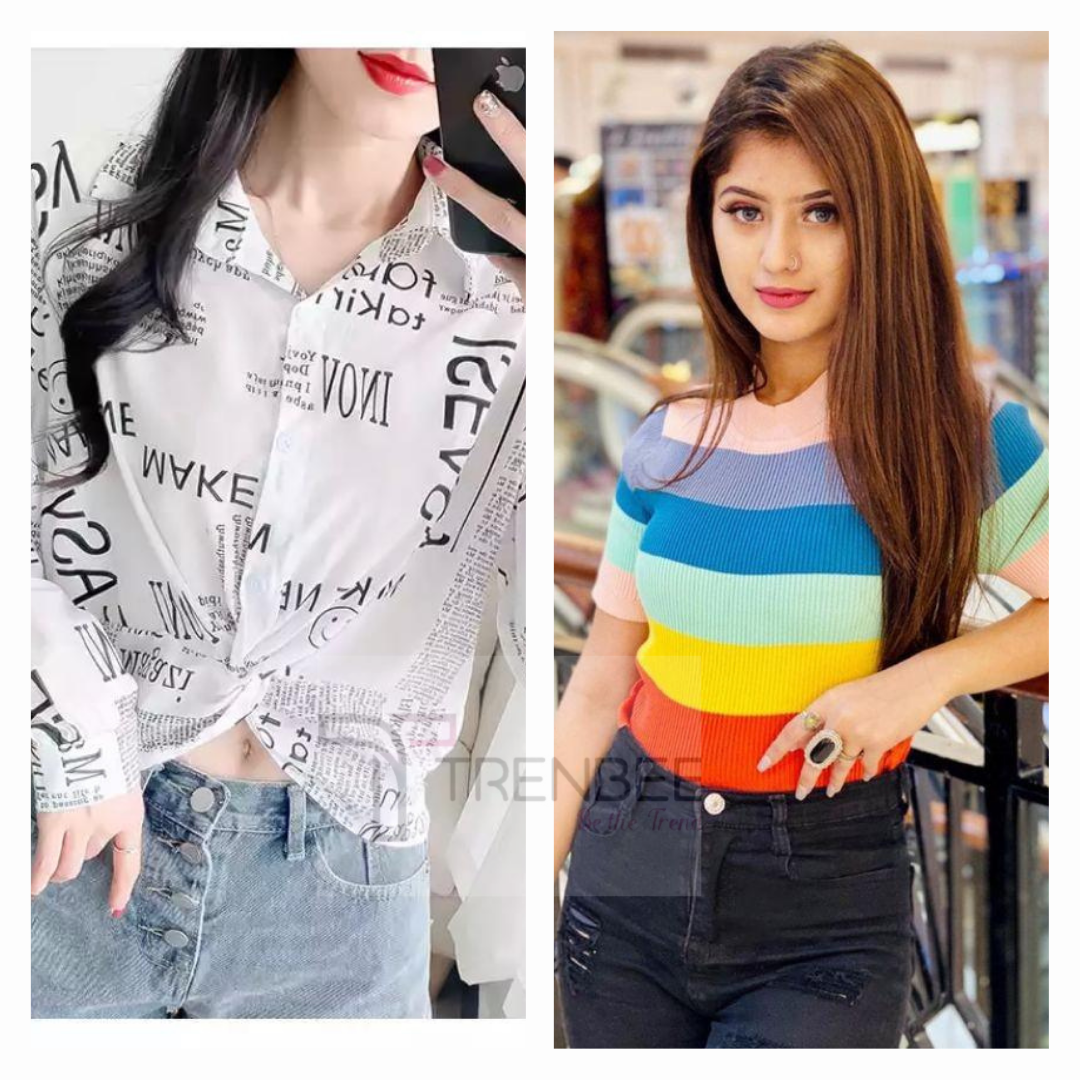 Set of Newspaper print shirt and Rainbow top