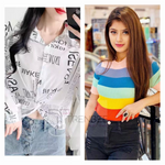 Load image into Gallery viewer, Set of Newspaper print shirt and Rainbow top