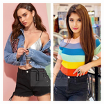Load image into Gallery viewer, Set of Sequined Denim Jacket and Rainbow top