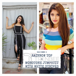 Load image into Gallery viewer, Set of Monotone Jumpsuit with white Stripes and Rainbow top