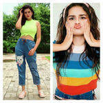 Load image into Gallery viewer, Set of Tea Green neon mock neck top with Cat addiction Denim Jogger and Rainbow Top