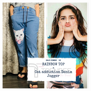 Set of Cat addiction Denim Jogger and Rainbow Top