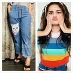 Load image into Gallery viewer, Set of Cat addiction Denim Jogger and Rainbow Top