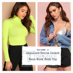 Load image into Gallery viewer, Set of Neon top and Sequined Denim Jacket