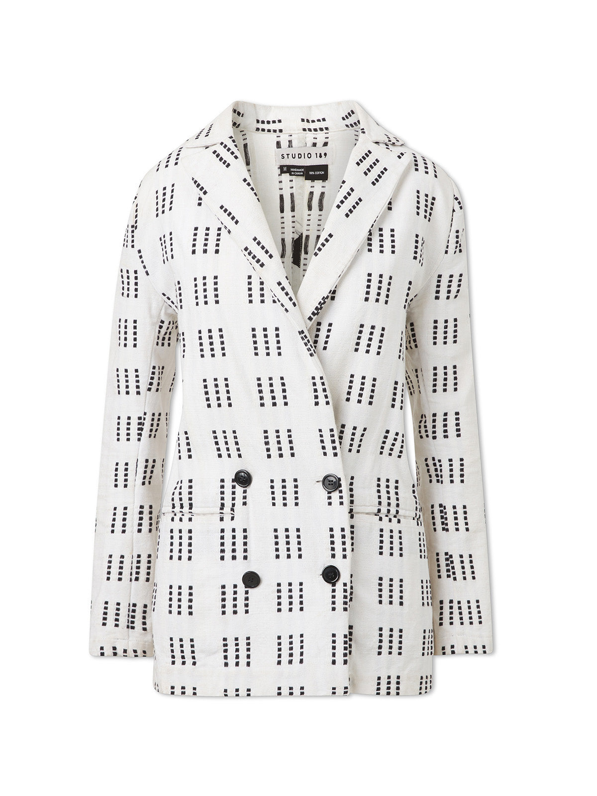 Monochrome Double-Breasted Blazer