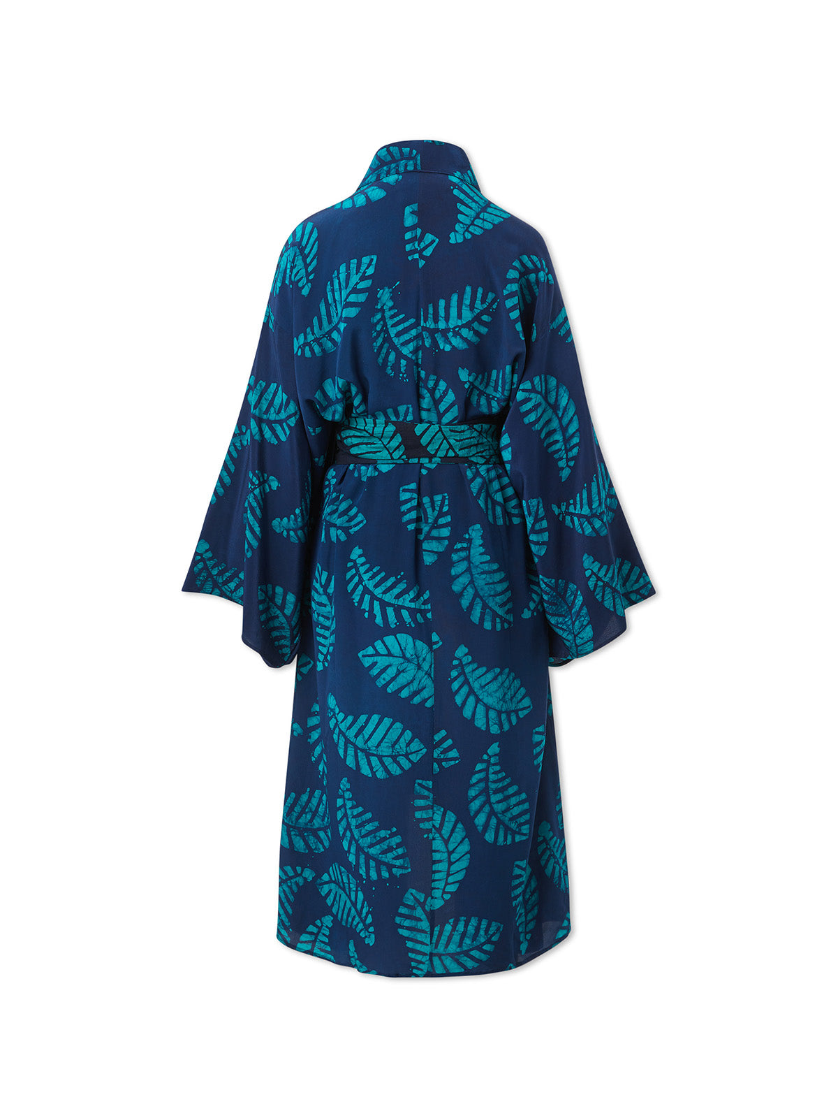 Navy and Green Silk Kimono