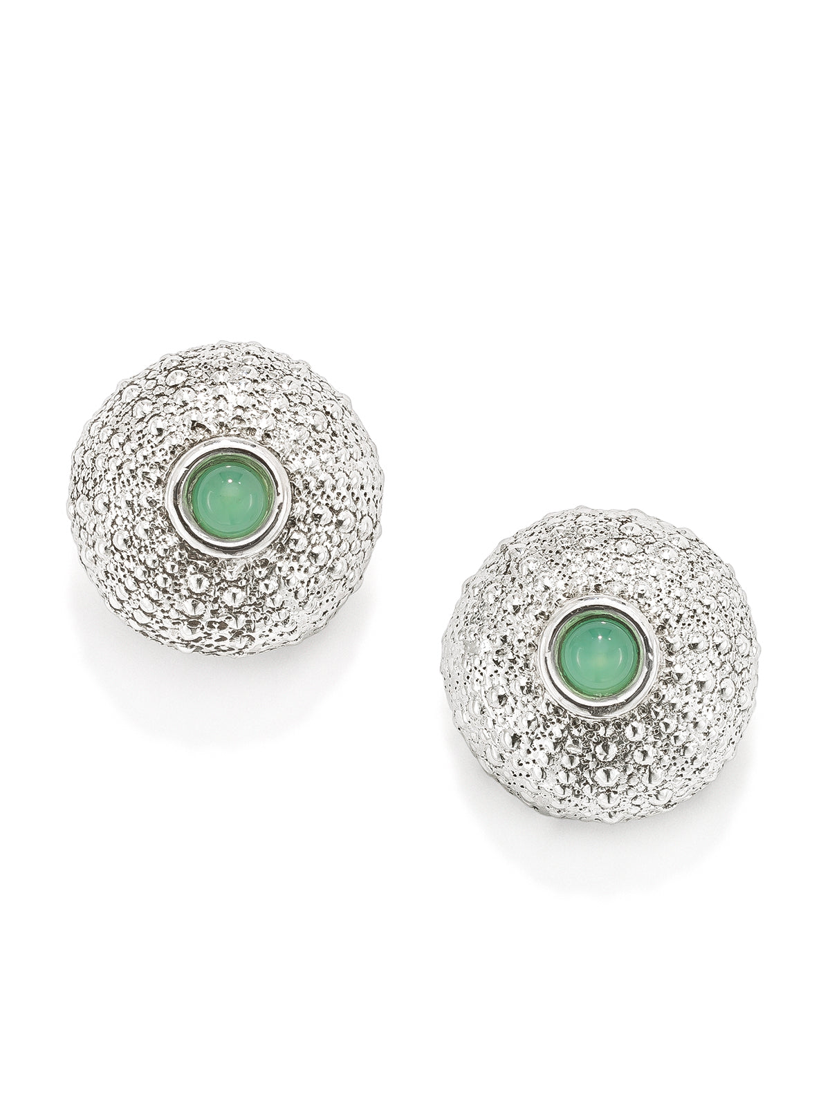Sea Urchin Stud Earrings with Chrysoprase