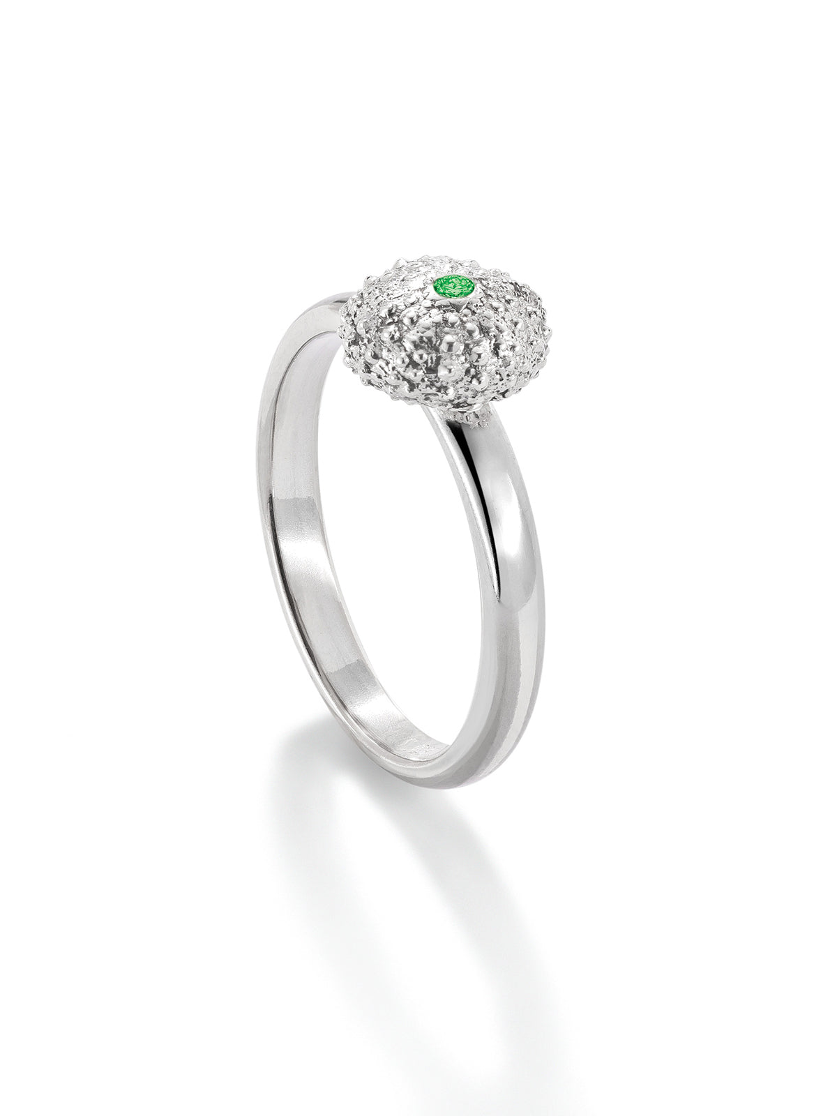 Sea Urchin Petite Ring with Tsavorite Garnet