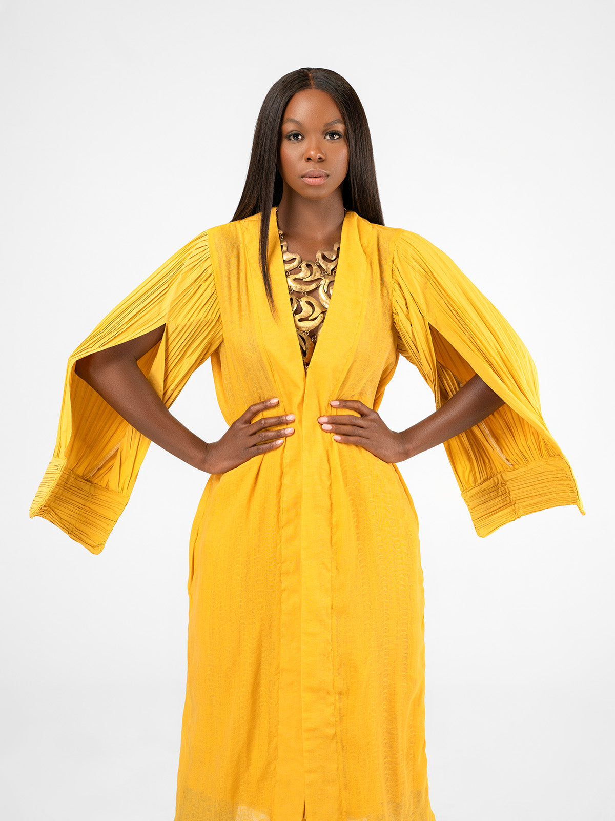 Pleated Yellow Duster Jacket