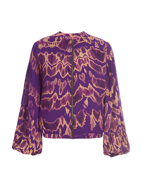 Purple Tie-Dye Bomber Jacket