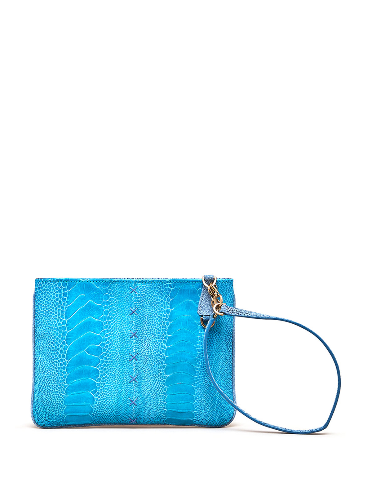 Crystal Blue Aja Clutch with  Blue Ostrich Feather Charm