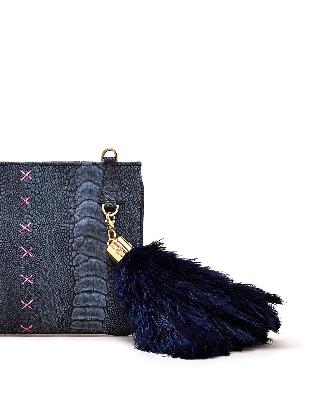 Black Stonewash Aja Clutch with Black Ostrich Feather Charm
