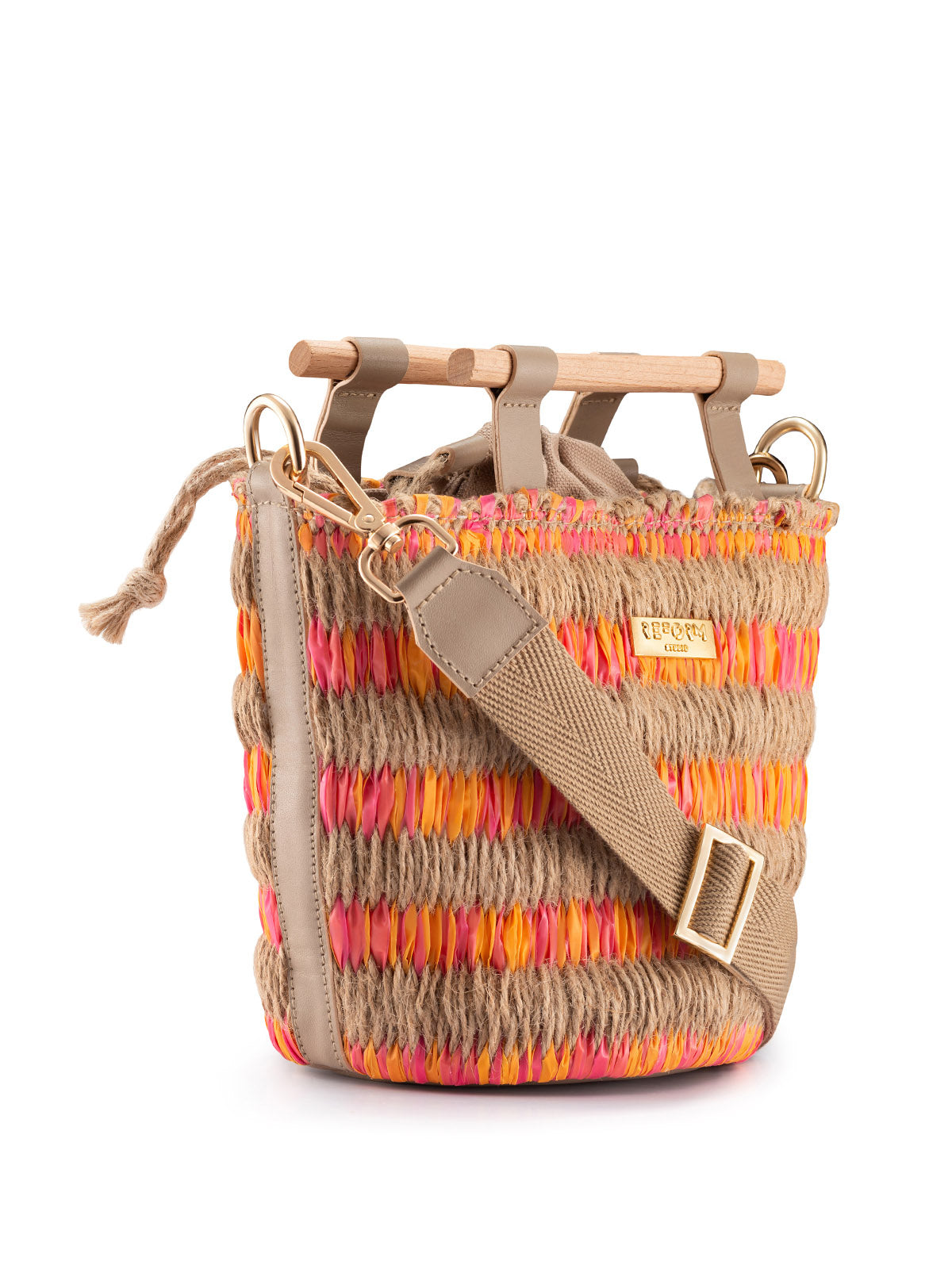 Mini Afro Basket in Pink and Orange