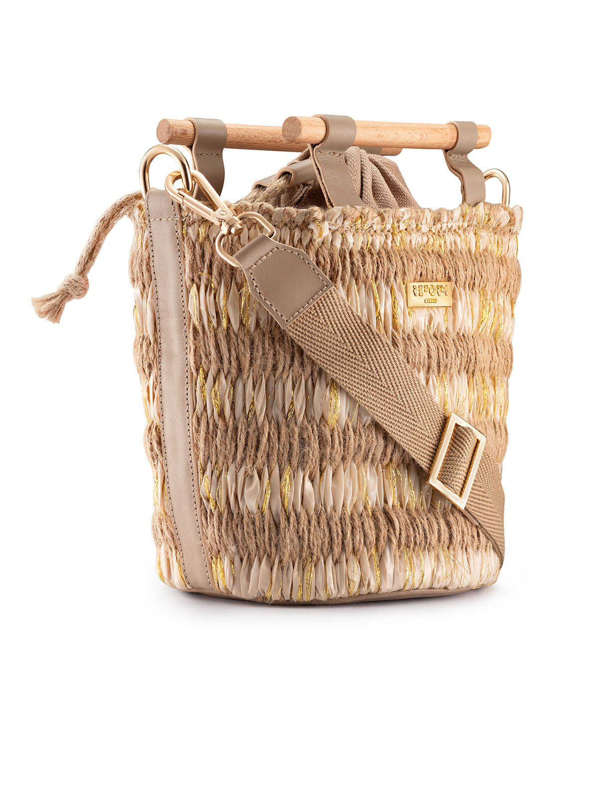 Mini Afro Basket in Beige and Gold