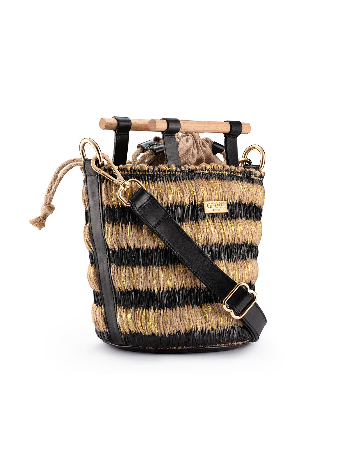 Mini Afro Basket in Black and Gold