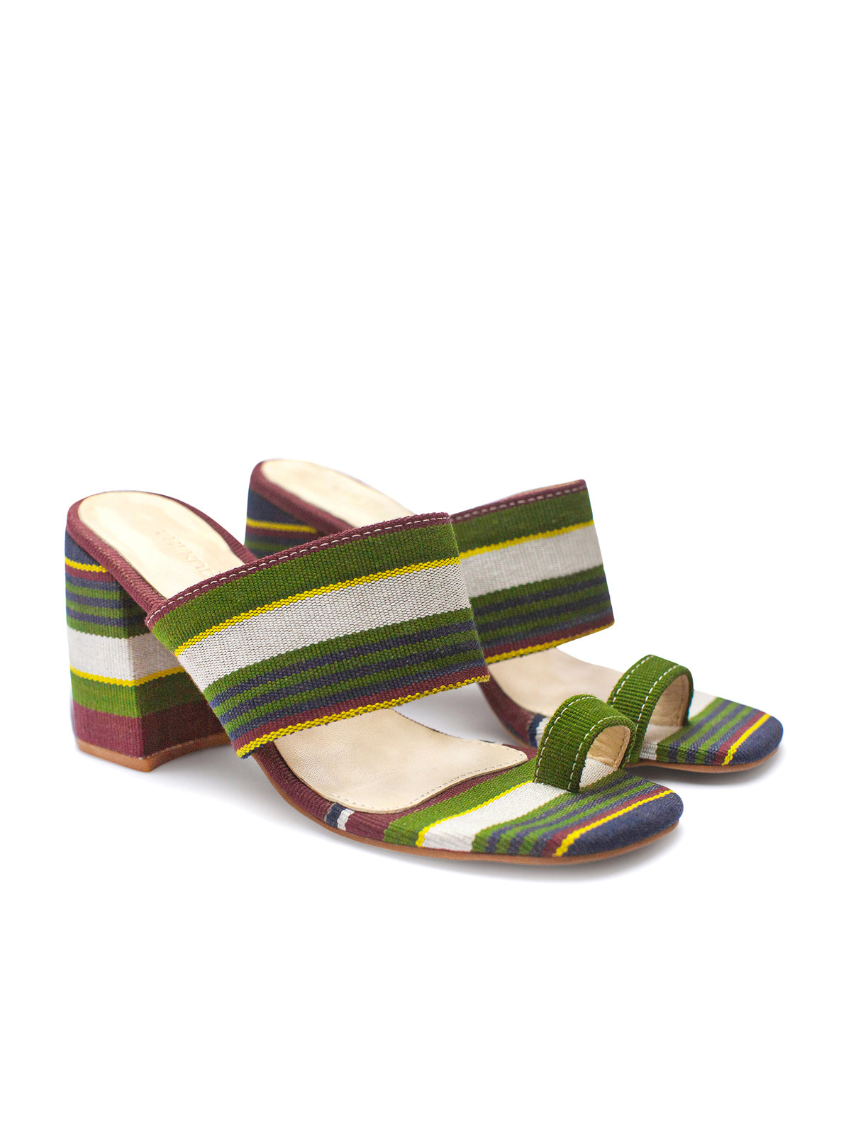 Green Stripe Kakawa Toe Mule