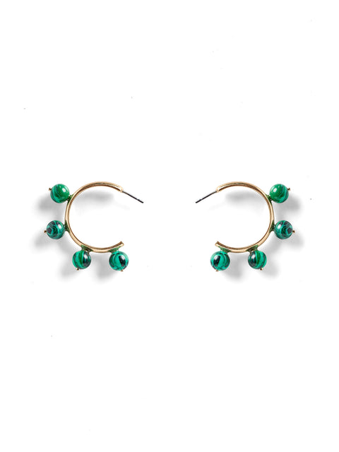Malachite Garland Hoop Earrings