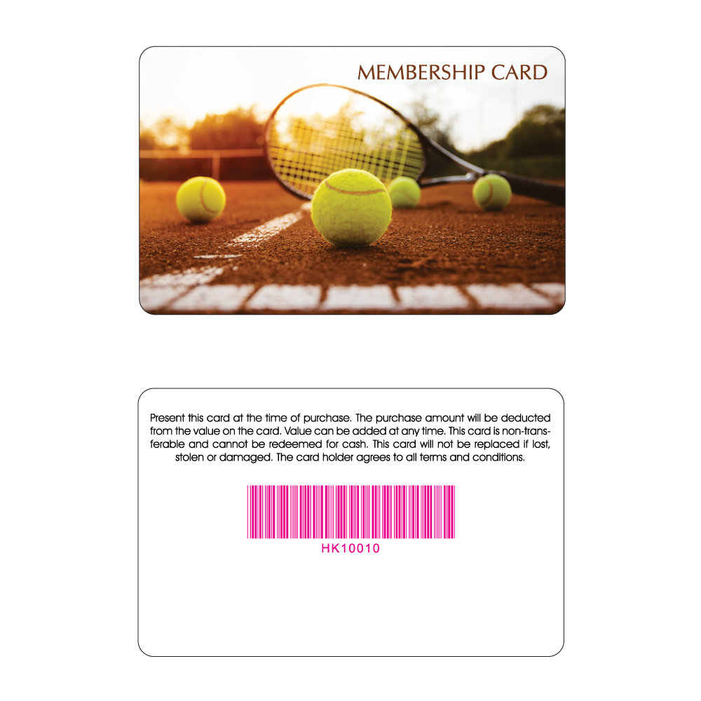 Tennis Club Membership Card - Tennis Racket