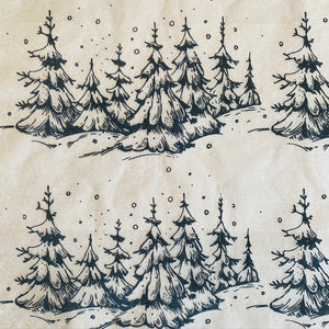 Snowy Trees - Underglaze Transfer Sheet - You Choose Color