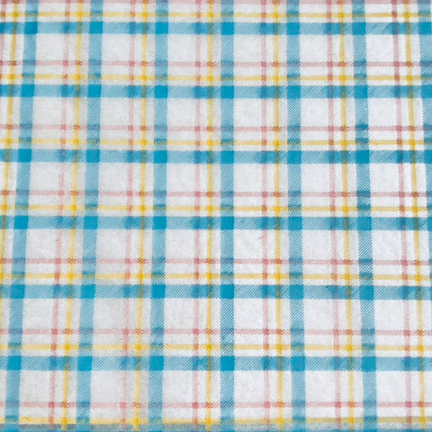 Spring Plaid - Underglaze Transfer Sheet - Turquoise / Pink / Yellow
