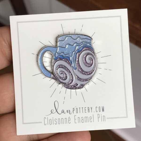 Glitter Swirl Mug Enamel Pin (You Choose Color)