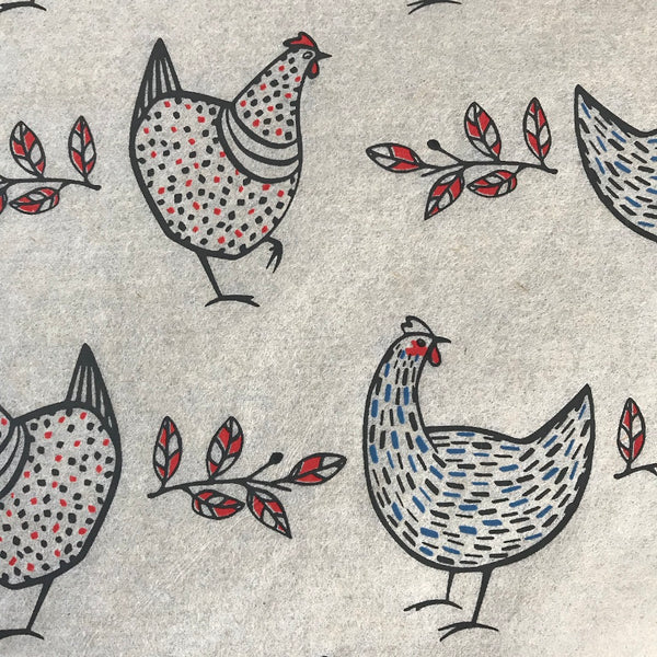 Chickens - Underglaze Transfer Sheet - black/red/blue - Red Face