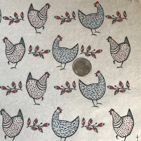 Chickens - Underglaze Transfer Sheet - black/red/blue