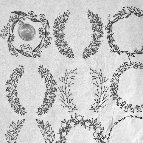 Floral Wreaths - Underglaze Transfer Sheet - Black