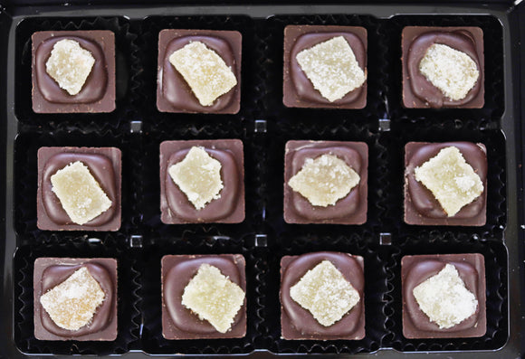 Box of 12 handmade ginger chocolates.