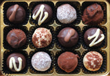 A box of 12 Tipsy Chocolate Truffle Selection.