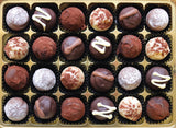 A box of 24 Tipsy Chocolate Truffle Selection.