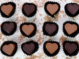 Box of 12 mixed Chocolate Caramel Hearts.