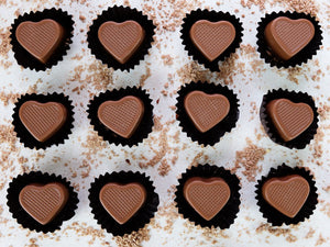 Handmade Chocolate Caramel Hearts.