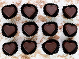 Handmade Dark Chocolate Caramel Hearts.