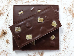 100g dark chocolate lime bar embedded with ginger pieces.
