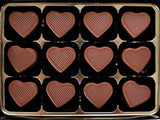 Chocolate gift box - 12 Milk Caramel Hearts.